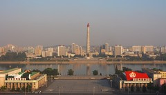 Juche Tower from the Grand Peoples Study Hall.