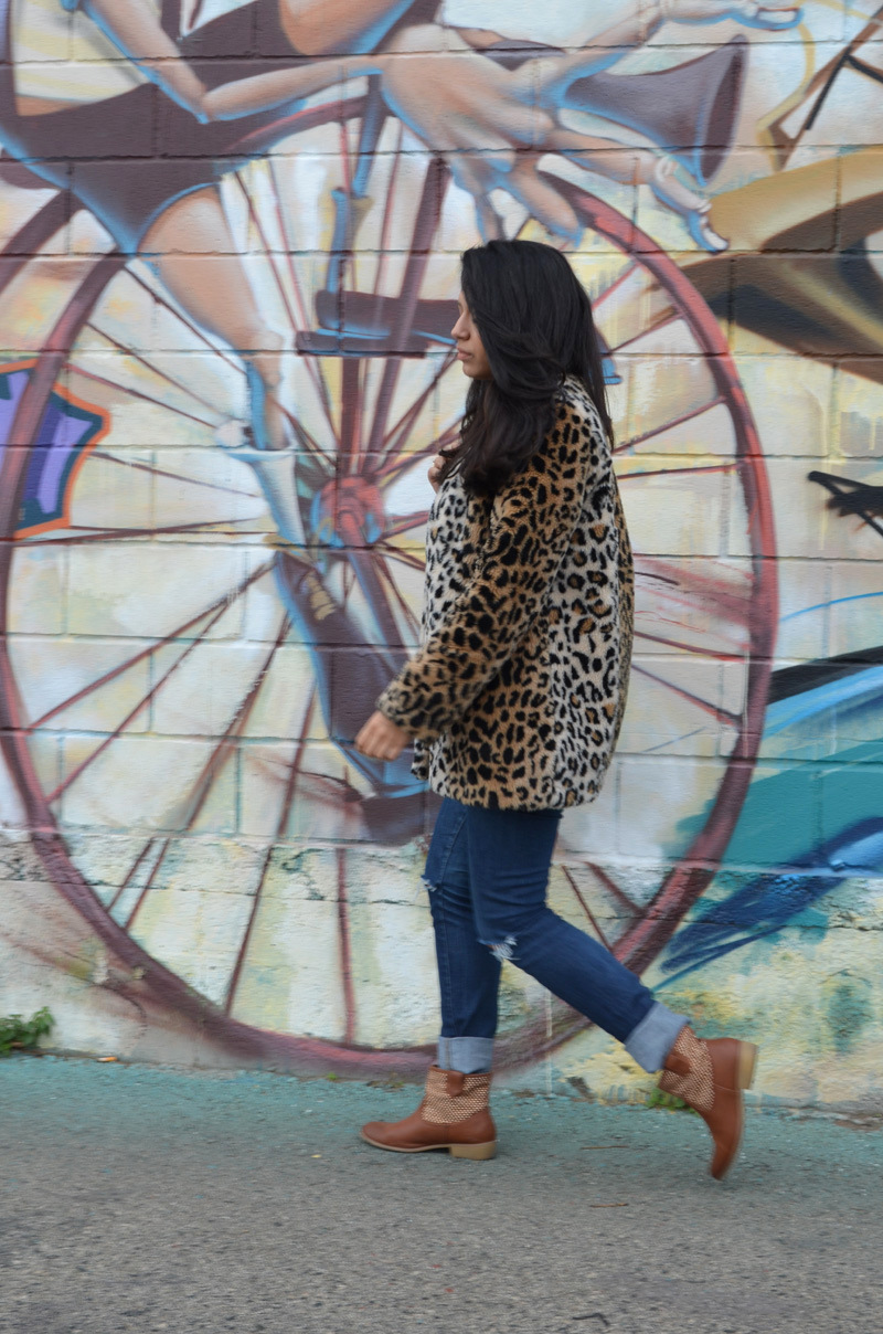 florenciablog coat animal print and total look denim redboxbag  (6)