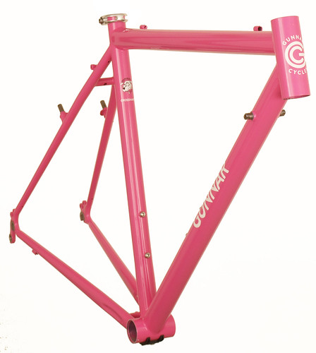 "<p>Front view of Gunnar CrossHairs Custom Bicycle Frame painted Pink Panther with White Gunnar Bullseye decals. <a href=""http://gunnarbikes.com/site/bikes/cross-hairs/"" rel=""nofollow"">Learn more . . </a></p>"