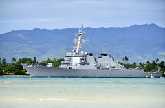 USS O'Kane (DDG 77) transits the waters of Pearl Harbor in January. (U.S. Navy/MC1 Daniel Barker)