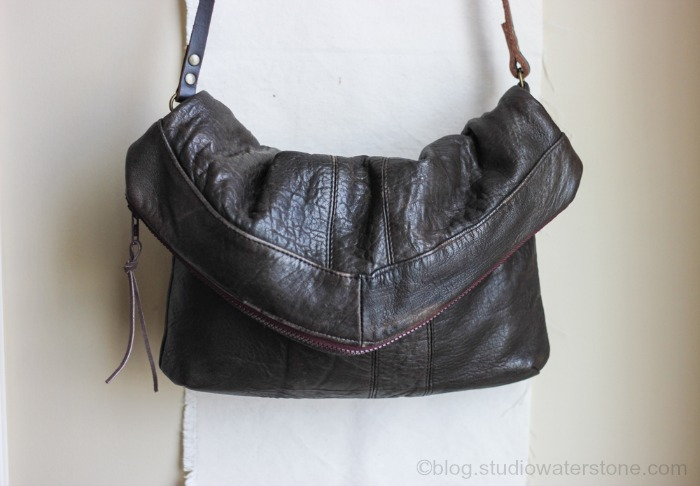 Recycled Brown Leather Crossbody