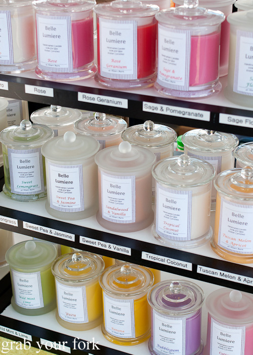 Scented candles at Frenchs Forest Organic Food Market