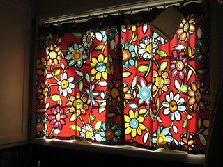 Red floral kitchen curtains