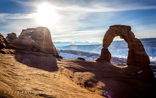 park sky usa snow rock sunrise landscape utah ut arch unitedstatesofamerica northamerica archesnationalpark