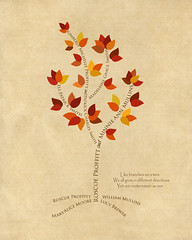 Family tree with names art beige brown present day autumn leaves roots