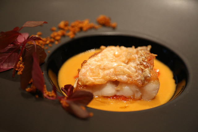 Cône de pin of Tilefish (with red pepper, chorizo and saffron) at Collage, Conrad Tokyo