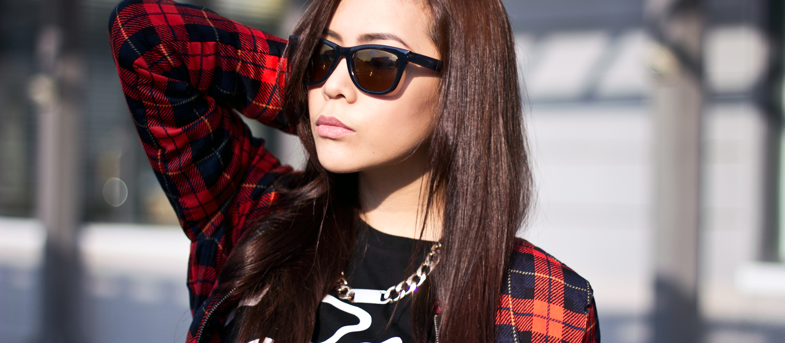 <h2>Street Rouge</h2>     <p>I'm loving this plaid printed bomber jacket