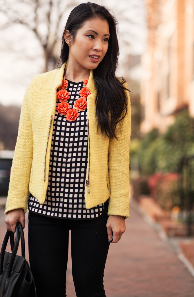 cute & little blog | stripes & checks | yellow sheinside blazer, checked grid top, striped pumps, orange flower necklace outfit