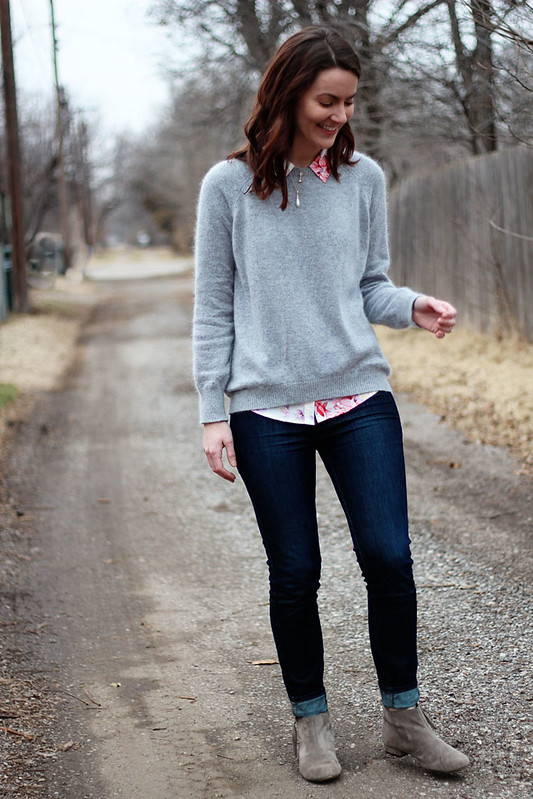gray-sweater-floral-button-down-jeans