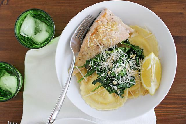 salmon + ravioli with lemon-garlic butter