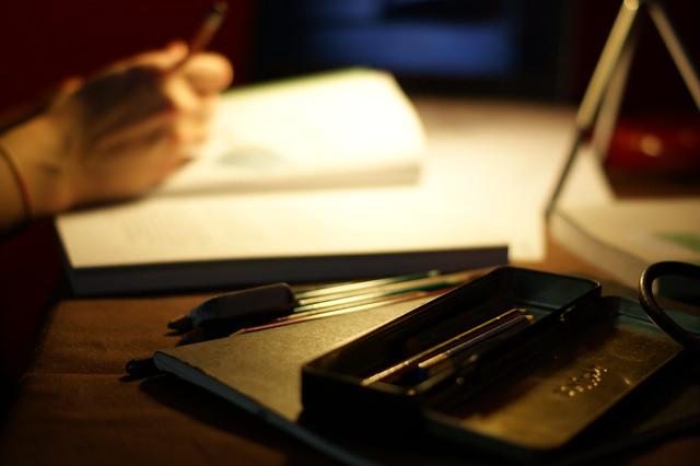 Desk with pencil case