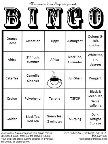 Sample Bingo Card for Margaret's (Advanced) Tea Tasting Class