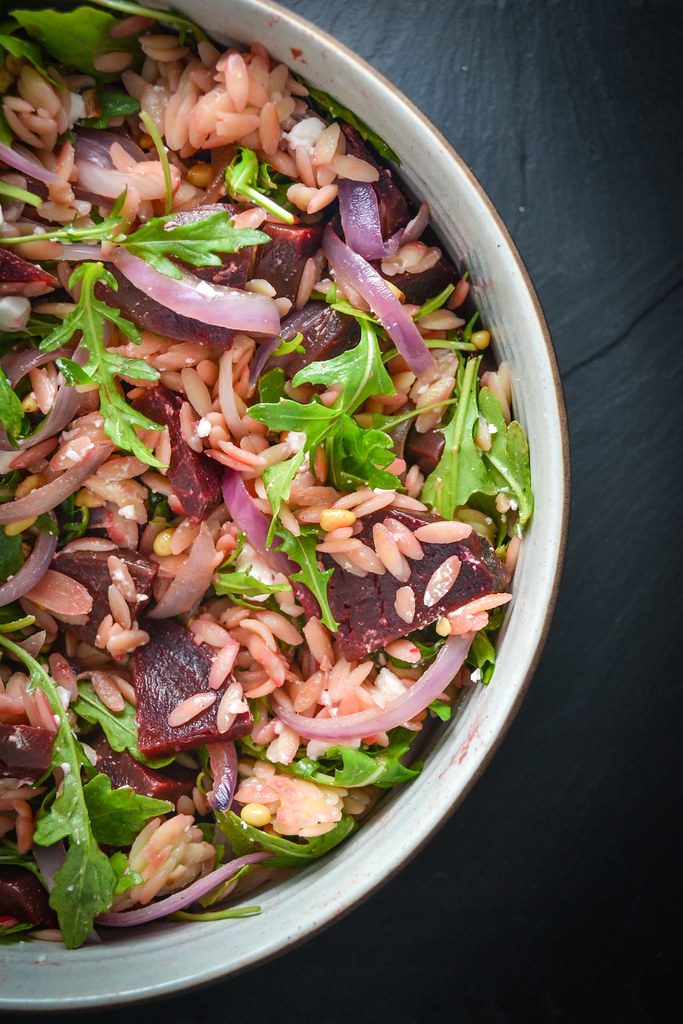 warm beet and orzo salad with some of my favorite accoutrements | things i made today