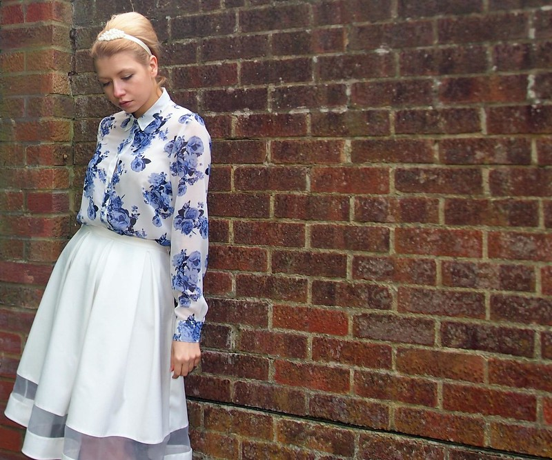 Sam Muses, UK Fashion Blog, London Style Blogger, Cobalt Blue, Floral Shirt, A Line, Sheer Panel Midi Skirt, Matalan, George, ASDA, SS14, How to Wear, Outfit Ideas, Style Inspiration, Vintage Style