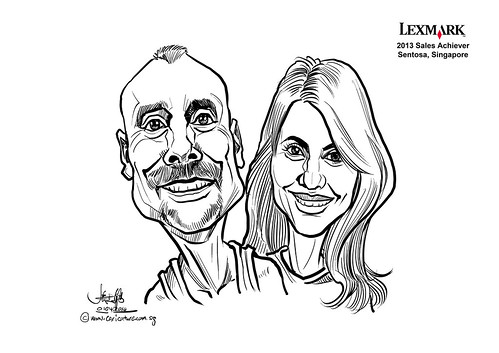digital couple caricatures for Lexmark - Kieran Farrelly