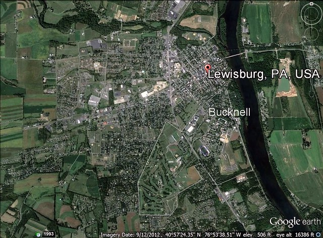 Lewisburg, PA and Bucknell U (via Google Earth)