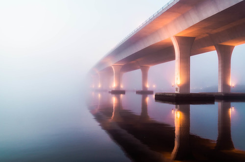 bridge fog sunrise florida stuart rooseveltbridge