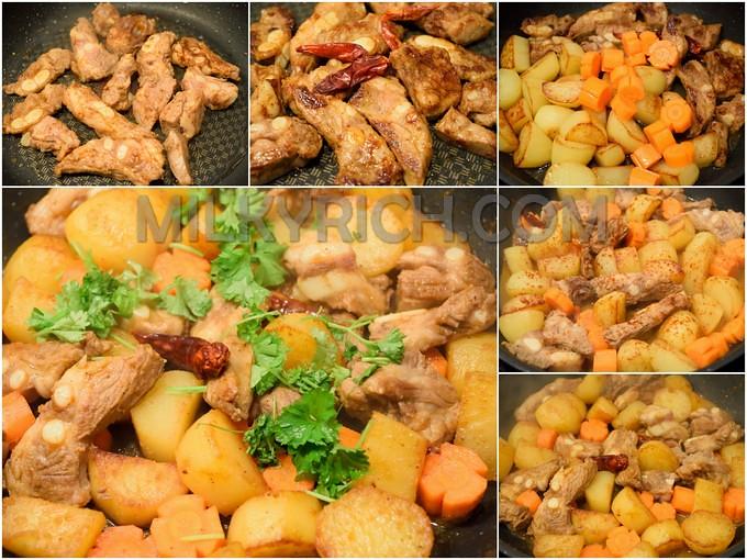 Sườn non chiên kho khoai tây - 4