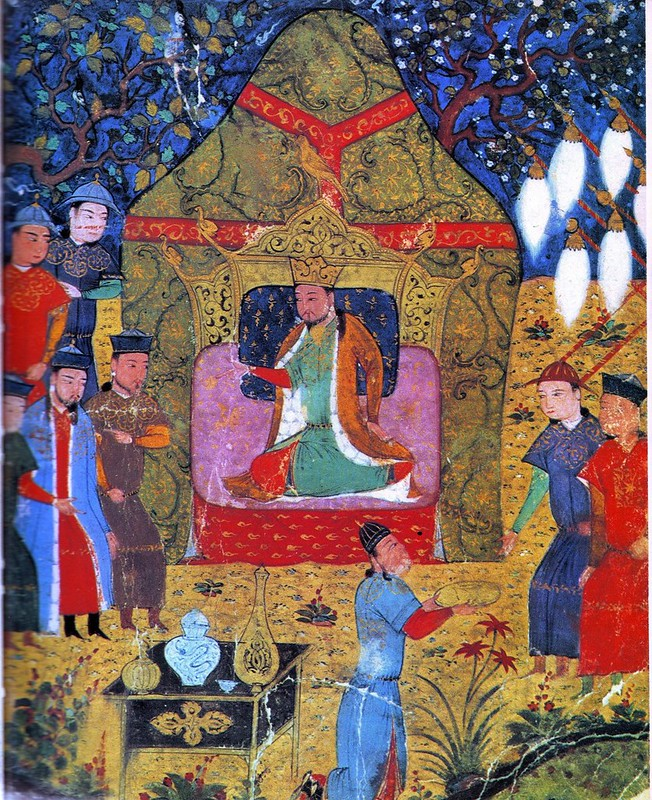 Proclamation of Genghis Khan Khagan of all Mongols from Jami' al-tawarikh manuscript