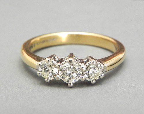 Vintage Engagement Ring Diamond Ring 3 Stone Trilogy Ring 18K Yellow Gold and Platinum Wedding Ring Eternity Ring Promise Ring Size 6