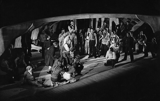 Act II scene 2 of the Covent Garden Opera Company production of Billy Budd (1951), produced by Basil Coleman at the Royal Opera House, Covent Garden. Photograph by Roger Wood