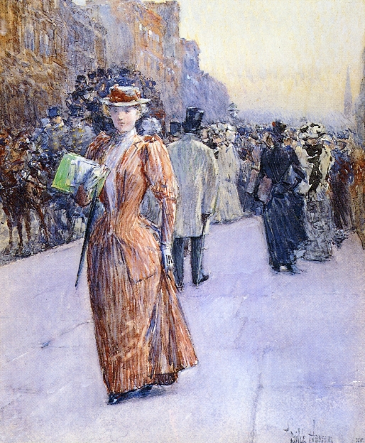 New York Street Scene by Frederick Childe Hassam - circa 1890