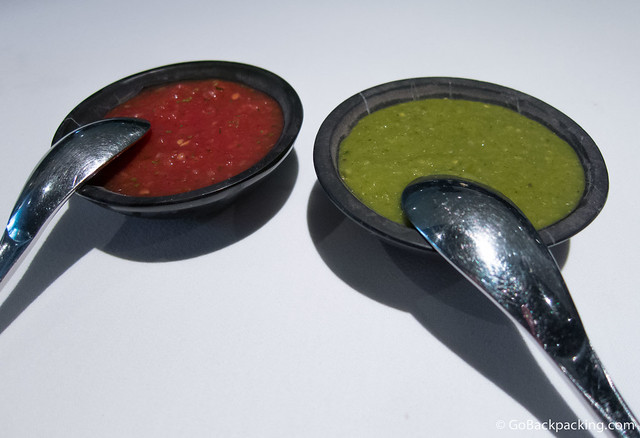 Red and green salsas are brought to the table, both of which I forget to use