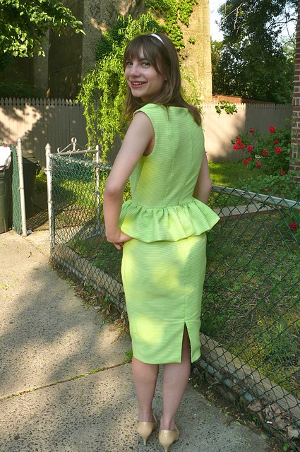 green cotton peplum dress