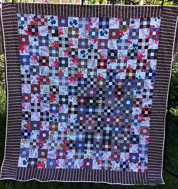 Vintage Calico Nine Patch Quilt