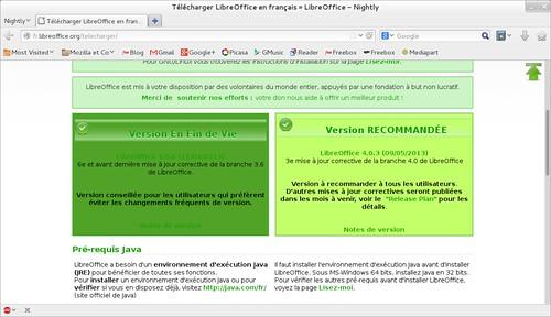 Dernière version de LibreOffice au 3 juin 2013