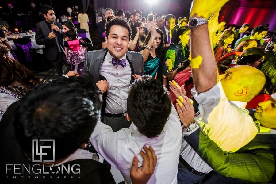 Guests on the dancefloor at the Atlanta Ismaili Indian wedding reception of Kanwal & Ali