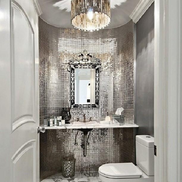Vanity Lights With Bling : Atlanta Living! #bathroom #vanity #silver #shines #bling #mirror #chanderlier #backsplash #light ...