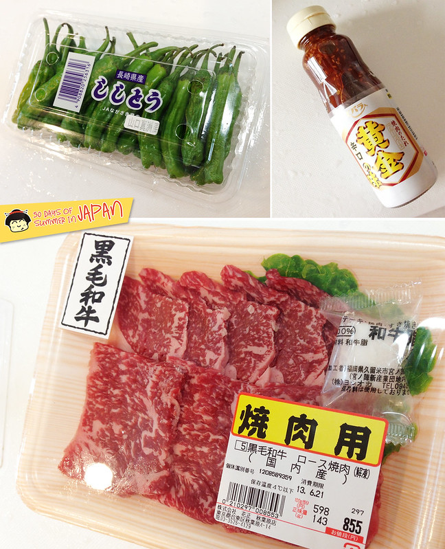 grocery shopping in tokyo - black hair beef, shishito peppers and asian barbecue sauce