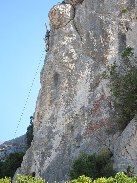 Claudia Climbing at Cala Fuili