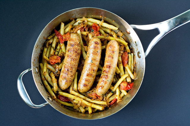 Sausages with Wax Beans and Tomatoes