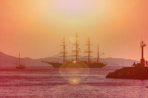 Sailing ship of the Dubrovnik coast