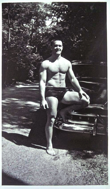 Vintage 1960s Photo: Shirtless Muscle Man Posing In A Pair Of Briefs Cut Speedo Swim Trunks 1