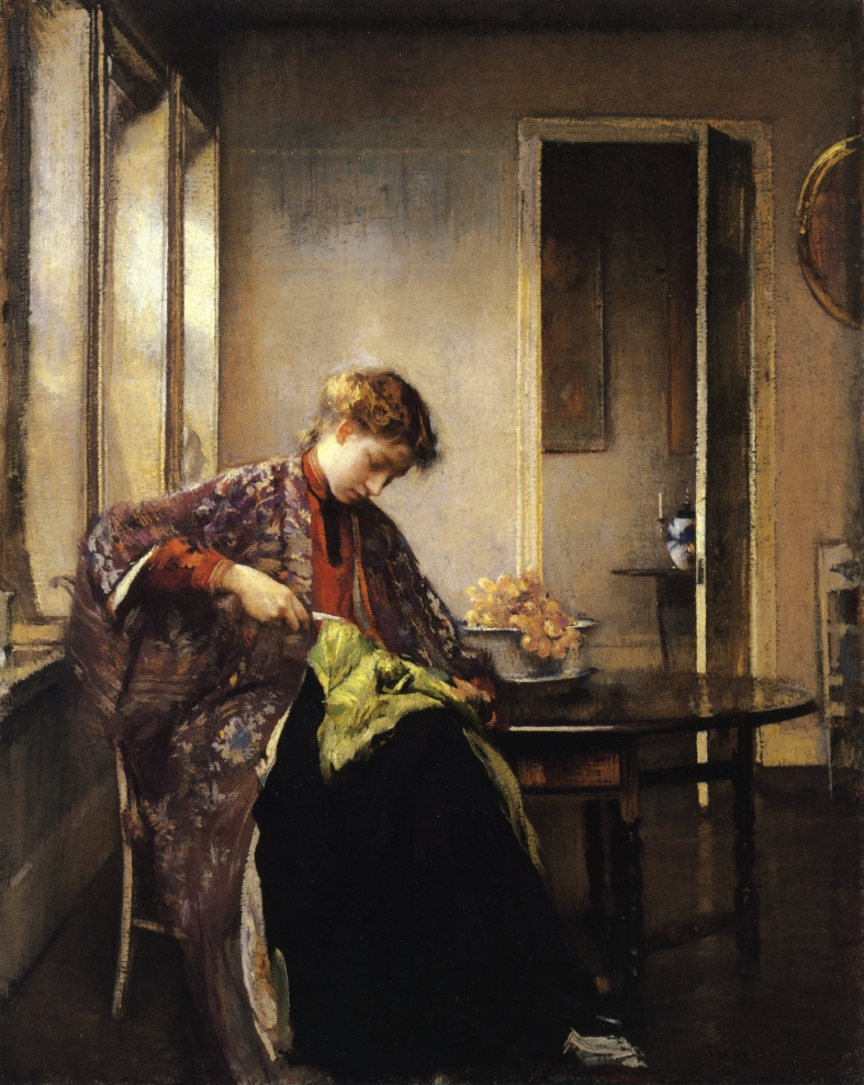 Edmund C. Tarbell, Girl Mending
