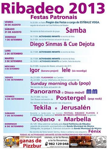 Ribadeo 2013 - Festas patronais - cartel