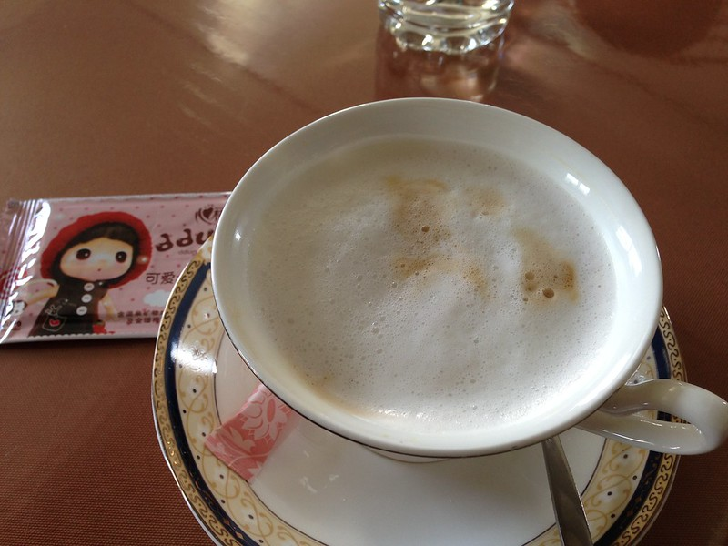 Cappuccino at the Pyongyang Airport cafe