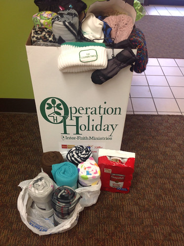 A full bin of donations for Operation Holiday from Wichita Montessori