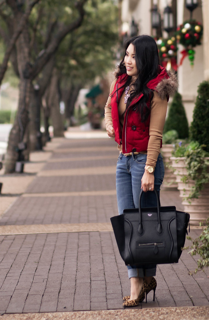 cute & little blog | red puffer hooded vest