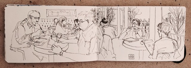 Vancouver Urban Sketchers meet at Milano Coffee Shop