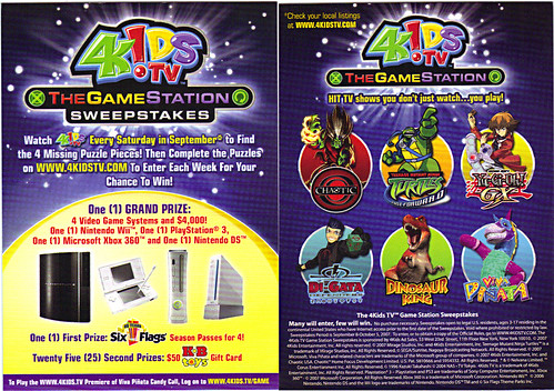 4KIDS TV - 'THE GAME STATION' :: K•B TOYS EXCLUSICE,LIMITED EDITION COLLECTIBLE CARDS // ..sweeps details card (( 2007 ))