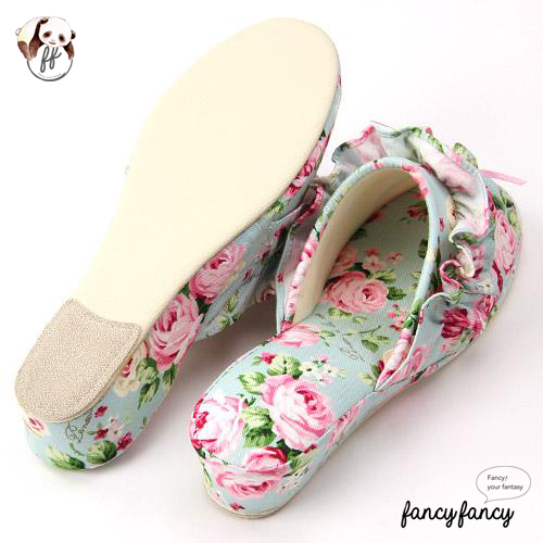 43.春暖花開甜美玫瑰低跟拖鞋(日本製)-粉綠2