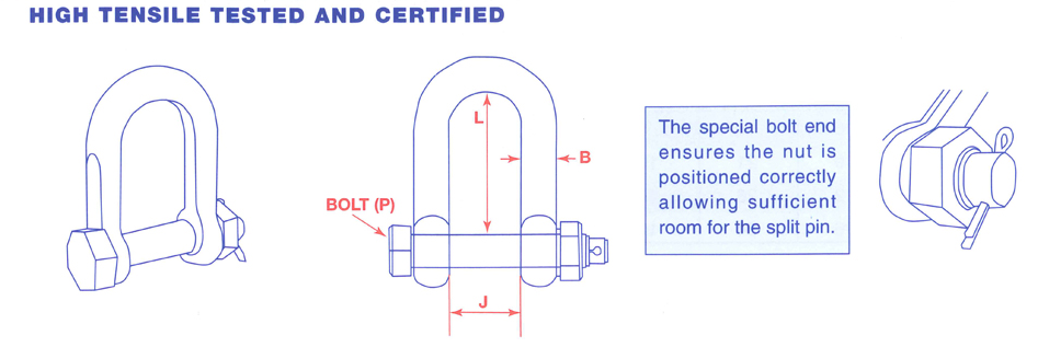 04435 Stainless Steel High Tensile Dee Shackle with E Type Safety Pin