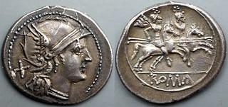 54/1 anonymous Denarius. Anonymous Roma, short peaked visor, Dioscuri. AM#1492-42, 23x20mm 4g20