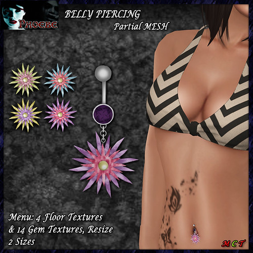 [NEW GIFT!] *P* Flower Belly Piercing ~4 Textures~ (p-MESH)