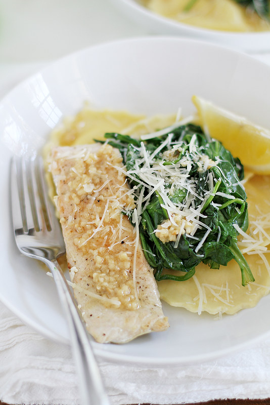 salmon + ravioli with lemon-garlic butter