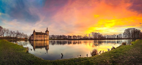 sunset panorama castle belgium horst kasteel kortrijkdutsel holsbeek pietersrode ixtussy
